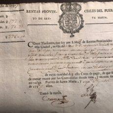 Documentos antiguos: PUERTO SANTA MARIA. 1757. RENTAS. Lote 148558393