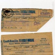 Documentos antiguos: RECIBOS CONTRIBUCIÓN TERRITORIAL 1942. Lote 148806358