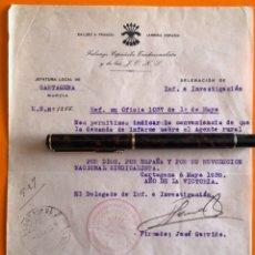Documentos antiguos: CARTAGENA- MURCIA- GUERRA CIVIL- JUEZ ESPECIAL DEPURACION 1.939. Lote 148901658