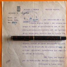 Documentos antiguos: CARTAGENA- MURCIA- GUERRA CIVIL- INFORME ALCALDIA- 1.939. Lote 148901886