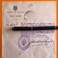 Documentos antiguos: CARTAGENA-. MURCIA- VELEZ RUBIO-. ALMERIA- GUERRA CIVIL- PRISION DE PARTIDO 1.940. Lote 148902298