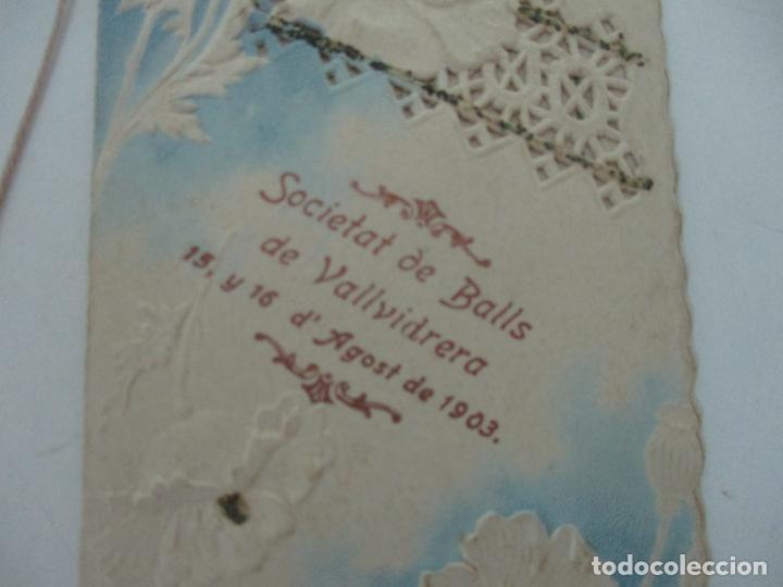 Documentos antiguos: Catálogo Modernista Troquelado - Societat de Balls de Vallvidrera - Programa 15, 16 Agost 1903 -1904 - Foto 3 - 149278198