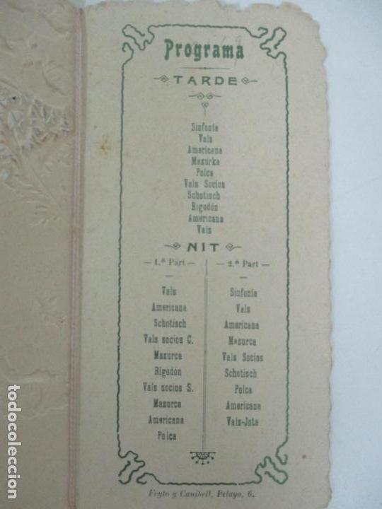Documentos antiguos: Catálogo Modernista Troquelado - Societat de Balls de Vallvidrera - Programa 15, 16 Agost 1903 -1904 - Foto 5 - 149278198