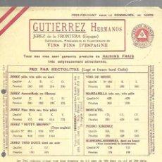 Documentos antiguos: LISTA DE PRECIOS. GUTIERREZ HERMANOS. JEREZ. VINOS FINOS DE ESPAÑA. PARA EMBARQUE EN CADIZ . Lote 149285142