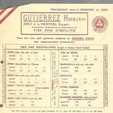 Documentos antiguos: LISTA DE PRECIOS. GUTIERREZ HERMANOS. JEREZ. VINOS FINOS DE ESPAÑA. PARA EMBARQUE EN CADIZ . Lote 149285570