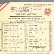 Documentos antiguos: LISTA DE PRECIOS. GUTIERREZ HERMANOS. JEREZ. VINOS FINOS DE ESPAÑA. PARA EMBARQUE EN CADIZ . Lote 149285586