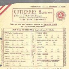 Documentos antiguos: LISTA DE PRECIOS. GUTIERREZ HERMANOS. JEREZ. VINOS FINOS DE ESPAÑA. PARA EMBARQUE EN CADIZ . Lote 149285598