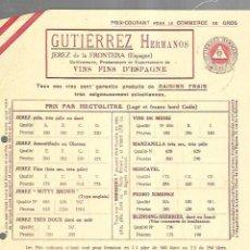 Documentos antiguos: LISTA DE PRECIOS. GUTIERREZ HERMANOS. JEREZ. VINOS FINOS DE ESPAÑA. PARA EMBARQUE EN CADIZ . Lote 149285606