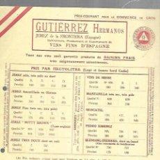 Documentos antiguos: LISTA DE PRECIOS. GUTIERREZ HERMANOS. JEREZ. VINOS FINOS DE ESPAÑA. PARA EMBARQUE EN CADIZ . Lote 149286030