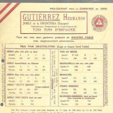 Documentos antiguos: LISTA DE PRECIOS. GUTIERREZ HERMANOS. JEREZ. VINOS FINOS DE ESPAÑA. PARA EMBARQUE EN CADIZ . Lote 149286074