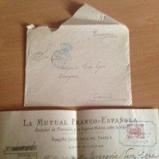 Documentos antiguos: SOBRE MATASELLOS ESTAFETA CONGRESO Y RECIBO LA MUTUAL FRANCO ESPAÑOLA 1904. Lote 149348166