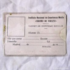 Documentos antiguos: CARNET SIN RELLENAR INSTITUTO RAMIRO DE MAEZTU MADRID. Lote 149522482