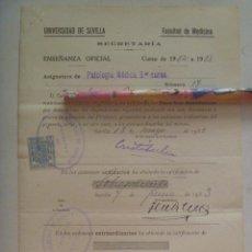 Documentos antiguos: UNIVERSIDAD SEVILLA - FACULTAD DE MEDICINA: MATRICULA PATOLOGIA MEDICA , 1932. VIÑETA REPUBLICA. Lote 149584010