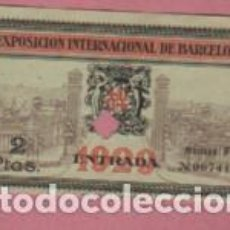 Documentos antigos: VIEJA ENTRADA DE LA EXPO INTERNACIONAL DE BARCELONA EN 1929 - SERIE F DE DOS PESETAS. Lote 149592874