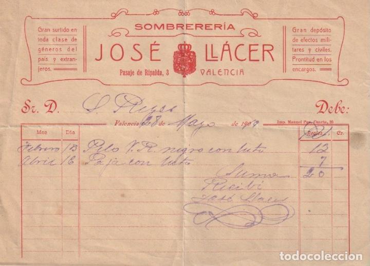 RECIBO SOMBRERERIA JOSE LLACER PASAJE RIPALDA,3 VALENCIA 1919 - -D-18 (Coleccionismo - Documentos - Otros documentos)