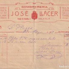 Documentos antiguos: RECIBO SOMBRERERIA JOSE LLACER PASAJE RIPALDA,3 VALENCIA 1919 - -D-18. Lote 149913990