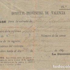Documentos antiguos: PASE PARA VISITAS DEL HOSPITAL PROVINCIAL DE VALENCIA DECADA DE 1890 - --D-18. Lote 149914274