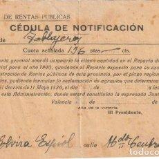 Documentos antiguos: RENTAS PUBLICAS CEDULA DE NOTIFICACION GREMIO DE TABLAJEROS? VALENCIA 1939. -D-18. Lote 149914362