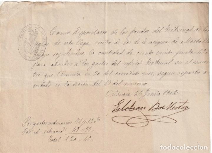 RECIBO DE 120 PESETAS DE LA ACEQUIA DEL MESTALLA AL TRIBUNAL DE LAS AGUAS DE VALENCIA 1902 -D-18 (Coleccionismo - Documentos - Otros documentos)