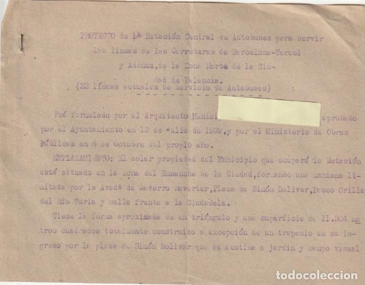 PROYECTO DE 1ª ESTACION CENTRAL DE AUTOBUSES DE VALENCIA ZONA DE NAVARRO REVERTER 1939 - -D-18 (Coleccionismo - Documentos - Otros documentos)