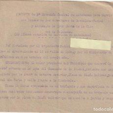 Documentos antiguos: PROYECTO DE 1ª ESTACION CENTRAL DE AUTOBUSES DE VALENCIA ZONA DE NAVARRO REVERTER 1939 - -D-18. Lote 149956830