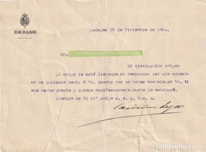 CARTA DE UN SENADOR PARTICULAR BADAJOZ 1924 - -D-18 (Coleccionismo - Documentos - Otros documentos)