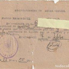 Documentos antiguos: ADMINISTRACION DE AGUAS - MARJAL PUEBLO DE MASAMAGRELL VALENCIA AÑO DE 1942 - -D-18. Lote 149957690