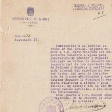 Documentos antiguos: AYTO. SALINAS Y MONOBAR ALICANTE 1940 RECUPERACION DE TIERRAS INCAUTADAS DOMINACION MARXISTA -D-18. Lote 149959198