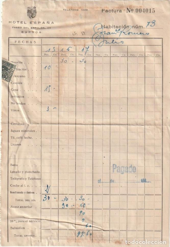 FACTURA HOTEL ESPAÑA PASEO DEL ESPOLON,44 BURGOS - -D-18 (Coleccionismo - Documentos - Otros documentos)