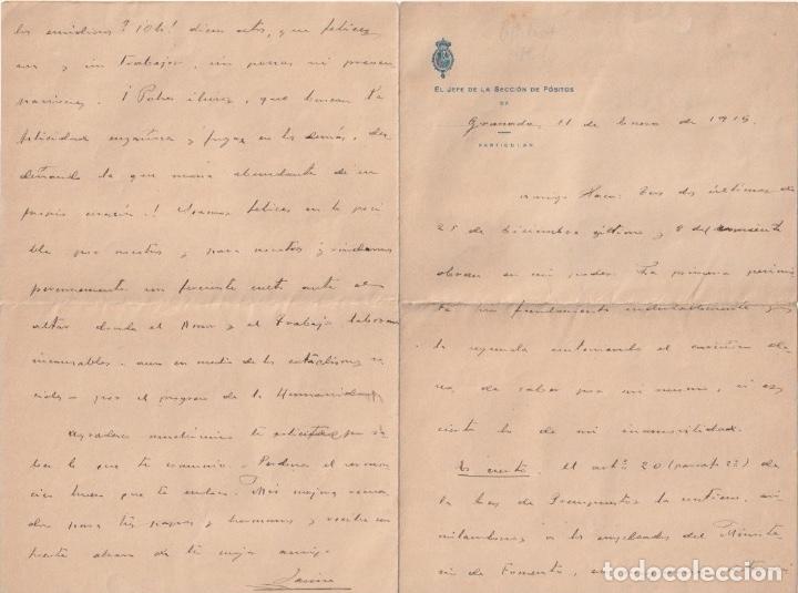 JEFE DE LA SECCION DE POSITOS DE GRANADA (DEPOSITO DE CEREAL DE GRANO DE CARACTER MUNICIPAL1915 D-18 (Coleccionismo - Documentos - Otros documentos)