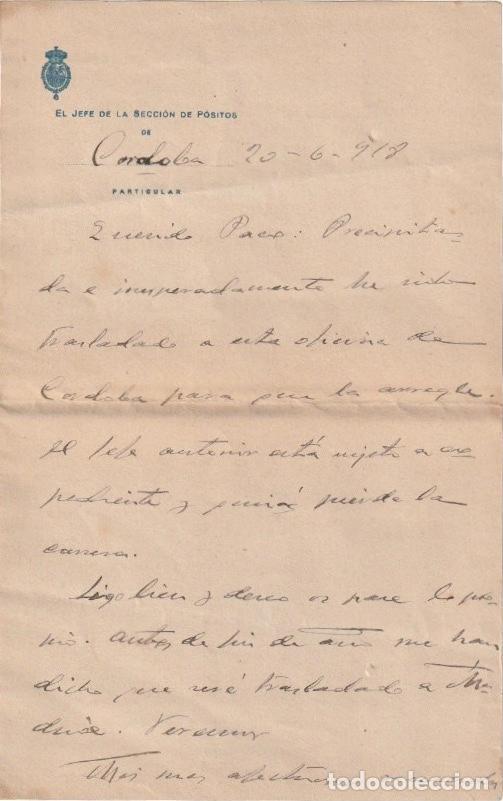 EL JEFE DE LA SECCION DE POSITOS DE CORDOBA ( DEPOSITO DE CEREAL DE CARACTER MUNICIPAL) 1918 - -D-18 (Coleccionismo - Documentos - Otros documentos)