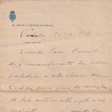 Documentos antiguos: EL JEFE DE LA SECCION DE POSITOS DE CORDOBA ( DEPOSITO DE CEREAL DE CARACTER MUNICIPAL) 1918 - -D-18. Lote 149975046