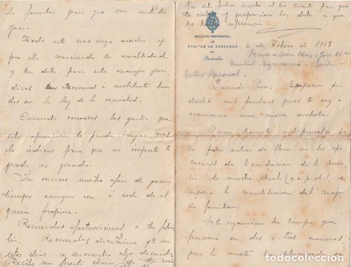 SECCION PROVINCIAL DE POSITOS DE ZARAGOZA (DEPOSITO DE CEREAL DE CARACTER MUNICIPAL)1913 - -D-18 (Coleccionismo - Documentos - Otros documentos)