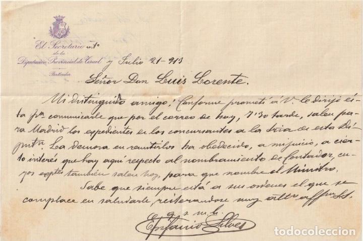 EL SECRETARIO DE LA DIPUTACION PROVINCIAL DE TERUEL JULIO DE 1913. - -D-18 (Coleccionismo - Documentos - Otros documentos)