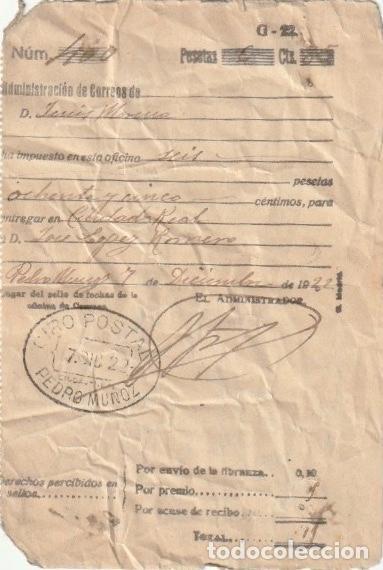 RECIBO GIRO POSTAL POR CORREOS DE PEDRO MUÑOZ A CIUDAD REAL 1922 - -D-18 (Coleccionismo - Documentos - Otros documentos)