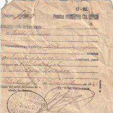 Documentos antiguos: RECIBO GIRO POSTAL POR CORREOS DE PEDRO MUÑOZ A CIUDAD REAL 1922 - -D-18. Lote 149978654