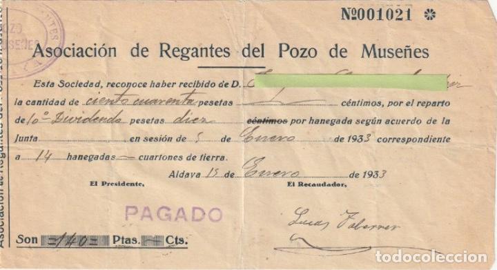 RECIBO ASOCIACION DE REGANTES DEL POZO DE MUSEÑES ALDAYA VALENCIA 1933 - -D-18 (Coleccionismo - Documentos - Otros documentos)