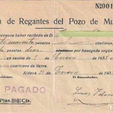 Documentos antiguos: RECIBO ASOCIACION DE REGANTES DEL POZO DE MUSEÑES ALDAYA VALENCIA 1933 - -D-18. Lote 149981990