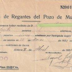 Documentos antiguos: RECIBO ASOCIACION DE REGANTES DEL POZO DE MUSEÑES ALDAYA VALENCIA 1934 - -D-18. Lote 149982110