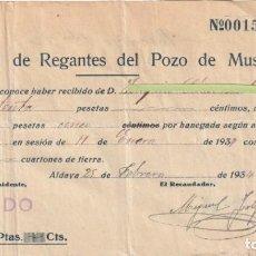 Documentos antiguos: RECIBO ASOCIACION DE REGANTES DEL POZO DE MUSEÑES ALDAYA VALENCIA 1934 - -D-18. Lote 149982206