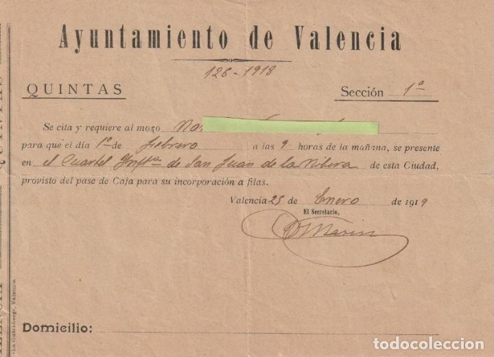 AYUNTAMIENTO VALENCIA QUINTAS SE REQUIERE MOZO EN CUARTEL S. JUAN DE LA RIBERA VALENCIA 1919 -D-18 (Coleccionismo - Documentos - Otros documentos)