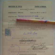 Documentos antiguos: UNIVERSIDAD SEVILLA - FACULTAD DE MEDICINA: MATRICULA PATOLOGIA QUIRURGICA , 1932. VIÑETA REPUBLICA. Lote 149996562