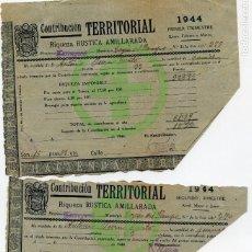 Documentos antiguos: RECIBOS CONTRIBUCIÓN TERRITORIAL 1944. Lote 150153274