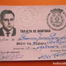 Documentos antiguos: TARJETA IDENTIDAD CENTRO CUILTURAL DE LOS EJERCITOS 1963. Lote 150236526
