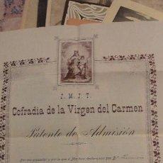 Documentos antiguos: PATENTE DE ADMISION.COFRADIA VIRGEN DEL CARMEN CARMEN VELASCO.SAN SEBASTIAN 1917. Lote 150360150