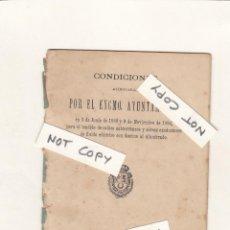 Documentos antiguos: CONDICIONES ACORDADAS POR EL EXCMO. AYUNTAMIENTO DE MADRID.PARA EL TENDIDO ELÉCTRICO.1889-1894. Lote 150468274