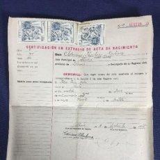 Documentos antiguos: CERTIFICACION EXTRACTO NACIMIENTO 1905 EN 1946 ABASTAS PALENCIA 27X22CMS. Lote 150681582
