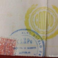 Documentos antiguos: COMPAÑIA DE SEGUROS AGRICOLAS E INDUSTRIALES, CAMPO. MADRID, RECIBO DE PAGO 1949.. Lote 150696606