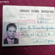 Documents Anciens: SEU. SINDICATO ESPAÑOL UNIVERSITARIO. CARNET. VALENCIA 1962. Lote 150765846
