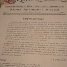Documentos antiguos: BOLETÍN INFORMATIVO SEGURA. GESTOR ADMINISTRATIVO. Lote 150819626